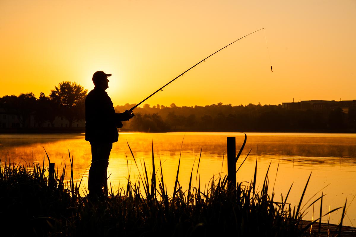 Lystfisker i silhouette